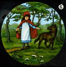 LITTLE RED RIDING HOOD  No 6 HAND COLOURED Magic Lantern Slide [351]