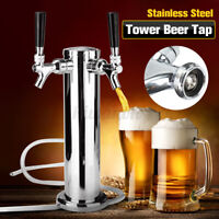 Double Stainless Steel Draft Beer Tower Kegerator Dual Chrome 2 Tap Faucet US