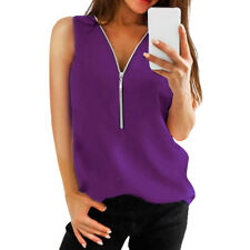 Women Zipper Sleeveless Casual Vest Top Blouse Ladies Summer Loose T Shirts Tops