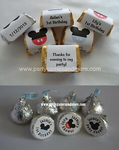 MICKEY MOUSE BABY SHOWER, BIRTHDAY PARTY, HERSHEY'S KISS OR NUGGET CANDY LABELS