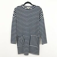 Listicle Stripe Dress Size Small Blue White Pockets Nautical Thick Cotton