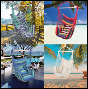 Hanging Rope Hammock Chair Cotton Canvas Outdoor Indoor Swing w/ 2 Seat Cushions