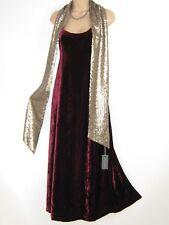 LAURA ASHLEY VINTAGE CLARET CRUSHED VELVET EVENING FESTIVE DRESS & SCARF,10 (12)