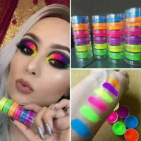 6 Colors Neon Nail Art Pigment Powder-Glitter Eyeshadow Cosmetic Makeup Tool Set