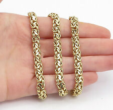 925 Sterling Silver - Shiny Gold Plated Byzantine Link Chain Necklace - N3328