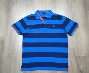 Gant Herren polo Poloshirt T-Shirt Gr L Blau Gestreift