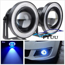 "2 Pcs 3.5"" 12V Blue LED COB Angel Eyes Halo Ring DRL Projector Lamps Fog Lights"