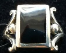 Sterling Silver Black Enamel Ring Size M 1/2