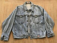 Vintage Womens GUESS Jean Jacket With Harley Davidson Motorcycle Patch Sz Medium