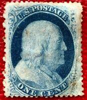 US Stamp SC #24 1c Blue Franklin Mint Hinged/OG CV:$140