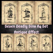 More details for seven deadly sins gallery wall art antique effect a4paper bundle 7 prints sinner