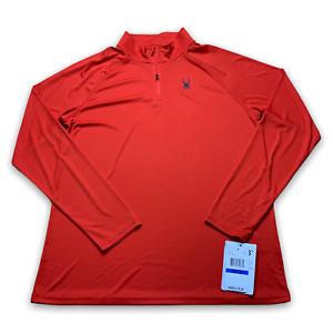 Spyder Men's 1/4 Zip Pullover Sweatshirt Volcano Red Long Sleeve Top Size XL New