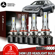 9005+9006 LED Headlight Kit High & Low Beam Combo 240W 24000LM Light Bulbs DWL