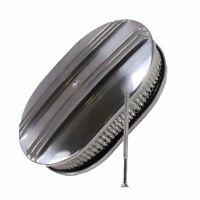 """12"""" Oval Finned Polished Aluminum Nostalgia Air Cleaner For Chevy Ford Mopar"""