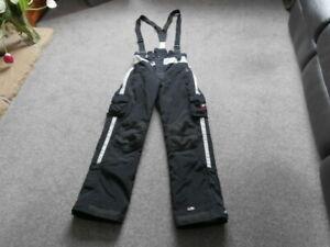 "TRESPASS BOYS  BLACK BRACED  SNOW SKI TROUSERS , AGE 15-16,  36"""