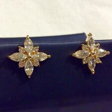 VINTAGE 2.24TCW DIAMOND 18K GOLD .925  STERLING SILVER STUD STARBURST EARRINGS