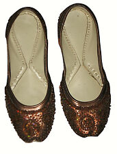 Indian Ethnic Brown Bronze Leather Sole Beaded Flat Dress Shoes Handmade Sz 6