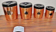 VINTAGE WEST BEND 4 Piece Kitchen Canister Set Copper & Black Flour Sugar Coffee