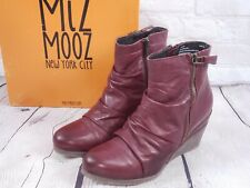 NIB - Miz Mooz Leather Ruched Wedge Ankle Boots Baron EU 39 (8.5-9) Bordeaux Red