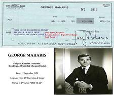 GEORGE MAHARIS  FILM  TV STAR ACTOR HAND SIGNED BANK CHEQUE - 1978  RARE ITEM