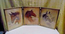3 Vintage 1987 Ruane Manning Lithograph Framed Wall Hang Horse Prints 25x10