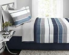Bedding Set Full Blue Stripe Bed In A Bag Comforter Sheet Machine Washable