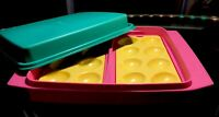 Tupperware NEW VINTAGE Deviled Egg Keeper Taker Tray #723 4 PC Pink Teal Yellow