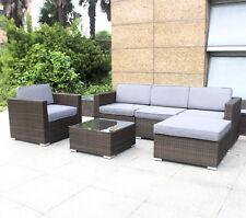 Polyrattan Gartenmöbel Rattan Sitzgruppe Lounge Garnitur 4 Sitze + Hocker Tisch