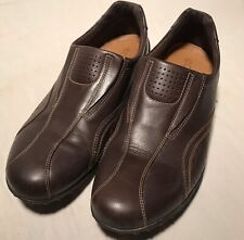 Womens Ecco Brown Leather Driving Loafers Comfort Shoes Size 9 / 9.5