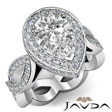 Pear Diamond Engagement Unique Halo Pre-Set Ring EGL G VS1 14k White Gold 2.3 ct