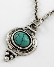 Western Cowgirl Rodeo Oval Turquoise Colored Silvertone Pendant Necklace #391-B