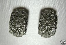 1/4 Carat Genuine White Diamond Earrings -  Half Hoop Sterling Silver Studs .925