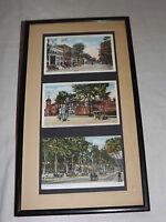 VNTGE 3 EARLY 1900S SARATOGA NY HOTEL MASONIC TEMPLE BROADWAY   FRAMED  POSTCARD