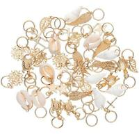 50Pcs Gold Shell Snowflake Pendant Rings Hair Clip Accessories for Braid Sale