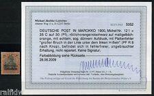 DP Marokko 35 C. Reichspost 1900 mit Plattenfehler Befund (S8021)