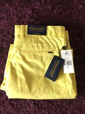 BNWT Smart 100% Genuine Ralph Lauren Golf'Tailored Fit' Yellow Shorts In Size 34