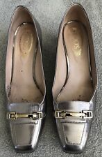 TODS silver leather & gold TODS etched bar medium high heel pumps shoes 39 / UK6