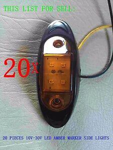 20 PC AMBER LENS LED MARKER BLACK SIDE  LIGHT 4 UTE TRAILER BUS TRUCK CAR