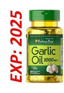 Garlic Oil 1000 mg Cholesterol Health 100 Softgels Pills Very Fresh Expire 2025