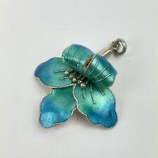 Vintage Sterling Silver Scandinavian Turquoise Enamel Orchid Pendant 3cm