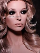 NEW TALL  Female mannequin wig bust  BROWN GLASS EYES!