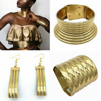 Retro Choker African Coil Collar Necklace Earring Bracelet Set Jewelry UK AN