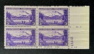 US Stamps, Scott #800 3c Plate Block 1937 Alaska Territorial Series VF M/NH