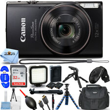 Canon PowerShot ELPH 360 HS Digital Camera (Black) + 32GB + LED Light Kit Bundle