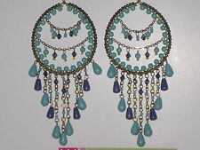 """New Handcrafted 5"""" Dream Catcher Pierced Earring, Turq Blue & Purple Color Beads"""
