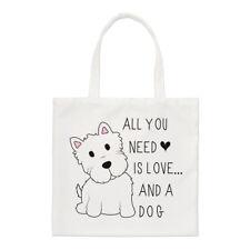"""All You Need is Love """"e un cane Small Tote Bag-CUCCIOLO FUNNY spalla"""