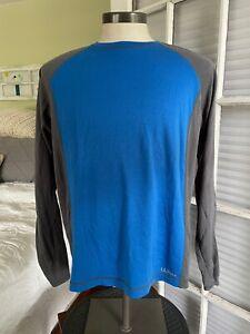 L L Bean Men's Sz M Merino Wool Baselayer Shirt w/Thumb Holes Blue/Gray J270505