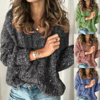 UK 10-18 Womens Long Sleeve Casual Sweater Knitted Tops Baggy Knitwear Jumper