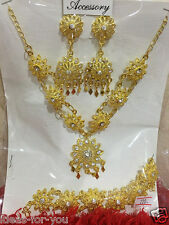 Wedding Necklace Earring Bracelet Accessories Thai Traditional Jewelry New Set