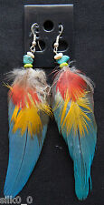 PIERCING / BOUCLES D'OREILLES - CYAN / PLUMES / TURQUOISE / FEATHERS / EARRINGS